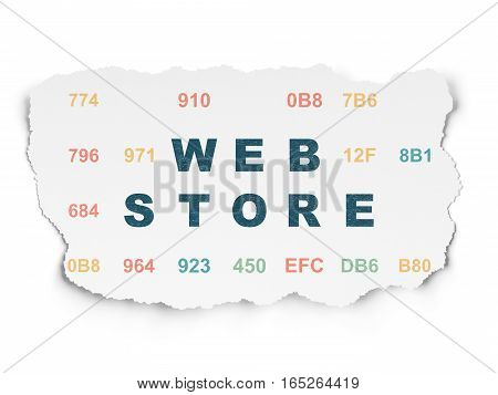 Web development concept: Painted blue text Web Store on Torn Paper background with  Hexadecimal Code
