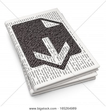 Web design concept: Pixelated black Download icon on Newspaper background, 3D rendering