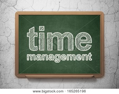 Timeline concept: text Time Management on Green chalkboard on grunge wall background, 3D rendering