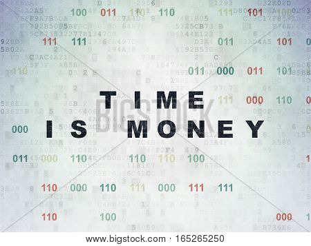 Time concept: Painted black text Time Is money on Digital Data Paper background with Binary Code