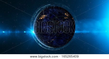 Earth from space at night with a digital communication system. Some elements of the image provided by NASA. 3D illustration