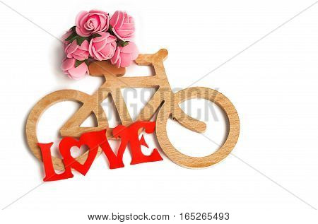 Toy bicycle made of thin hands carved wood