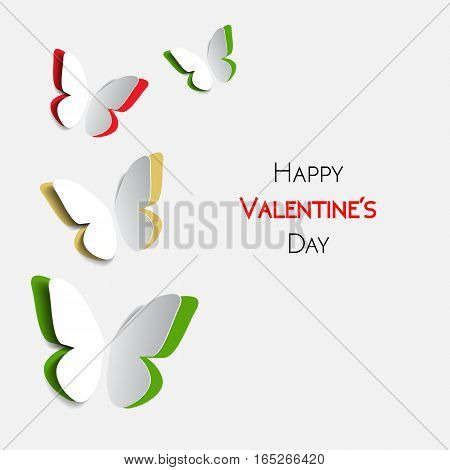 Happy Valentines Day greeting card with paper origami multicolor butterflies