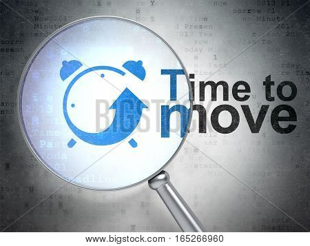 Timeline concept: magnifying optical glass with Alarm Clock icon and Time to Move word on digital background, 3D rendering
