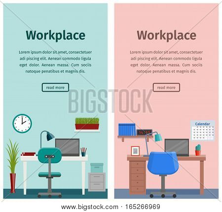 Design workspace or home workplace in flat style. Office interior with furniture and equipment. Banners of business theme. Vector.