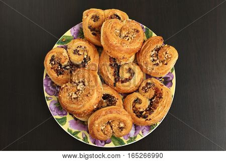 Puff pastry with nuts. Sweet food.Cake, bakery