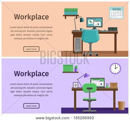 Design workspace or home workplace in flat style. Office interior with furniture and equipment. Horizontal banners of business theme. Vector illustration.