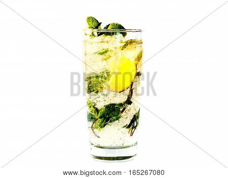 Mojito alcohol carbonated cocktail with lime, fresh mint and ice in high glass isolated on a white background.