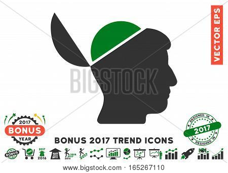 Green And Gray Open Brain icon with bonus 2017 trend images. Vector illustration style is flat iconic bicolor symbols, white background.