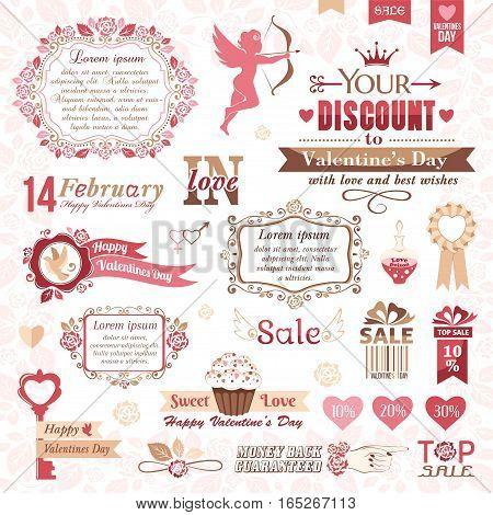 Set of Valentines Day design elements (color version)