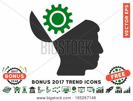 Green And Gray Open Head Gear icon with bonus 2017 year trend symbols. Vector illustration style is flat iconic bicolor symbols, white background.