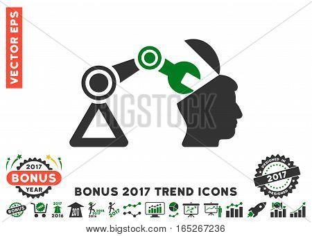 Green And Gray Open Head Surgery Manipulator icon with bonus 2017 trend icon set. Vector illustration style is flat iconic bicolor symbols, white background.