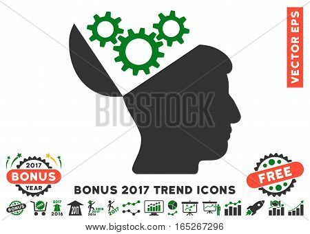 Green And Gray Open Mind Gears pictograph with bonus 2017 trend pictograms. Vector illustration style is flat iconic bicolor symbols, white background.