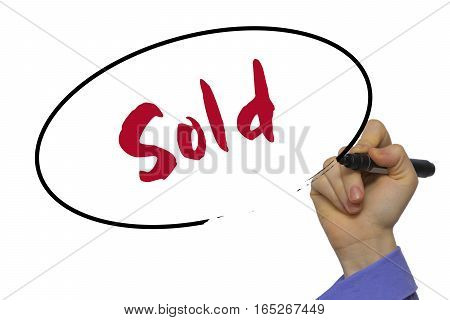 Woman Hand Writing Sold On Blank Transparent Board With A Marker Isolated Over White Background. Bus