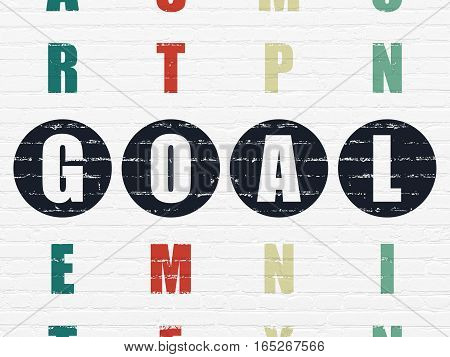 Advertising concept: Painted black word Goal in solving Crossword Puzzle