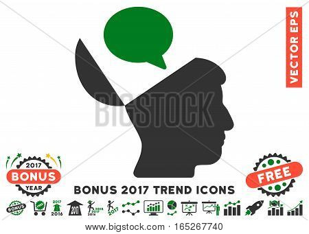 Green And Gray Open Mind Opinion pictogram with bonus 2017 trend pictures. Vector illustration style is flat iconic bicolor symbols, white background.