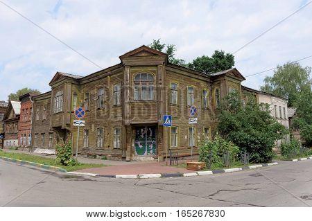 Nizhny Novgorod, Russia. - July 14.2016. Old residential two-storey wooden house on Slavyanskaya Street 4A