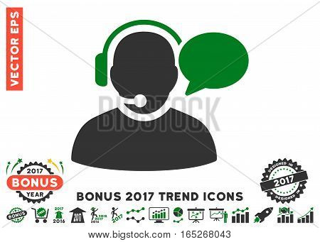 Green And Gray Operator Message pictograph with bonus 2017 trend pictures. Vector illustration style is flat iconic bicolor symbols, white background.