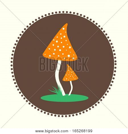 Vector Fly-Agaric Mushrooms Flat Design Illustration EPS 10 Logo