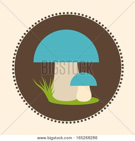 Vector Porcini Mushrooms Flat Design Illustration EPS 10 Logo