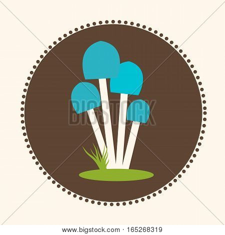 Vector Honey Agaric Mushrooms Flat Design Illustration EPS 10 Logo