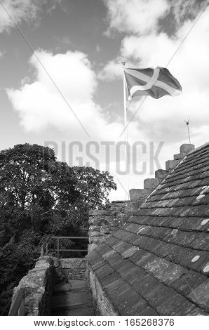 A view of the saltire on the roof of Huntingtower castle
