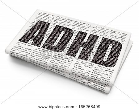 Medicine concept: Pixelated black text ADHD on Newspaper background, 3D rendering