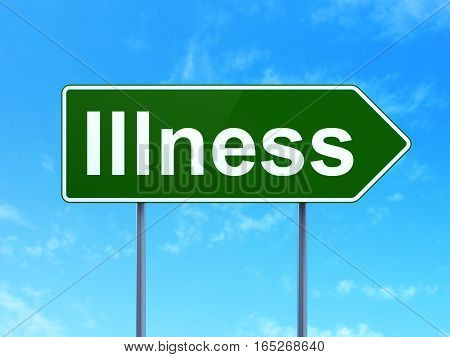 Healthcare concept: Illness on green road highway sign, clear blue sky background, 3D rendering