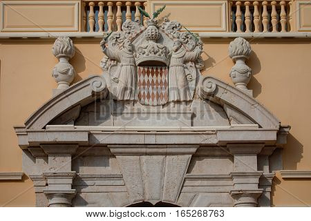 Architectural Detail With Monaco Coat Of Arms