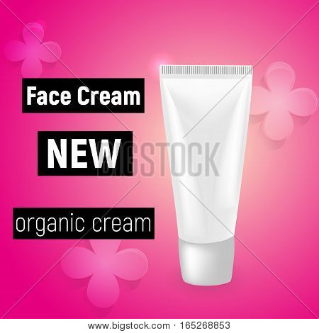 Face cream and contained in white cosmetic jar, pink background, 3d illustration