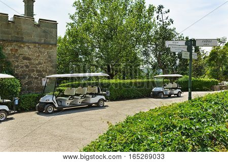 Guided walking electric vehicles in the Park Vorontsov Palace. Alupka Crimea Russia