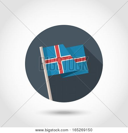 Vector Iceland Flag in flat style.Republic of Iceland flag sign.
