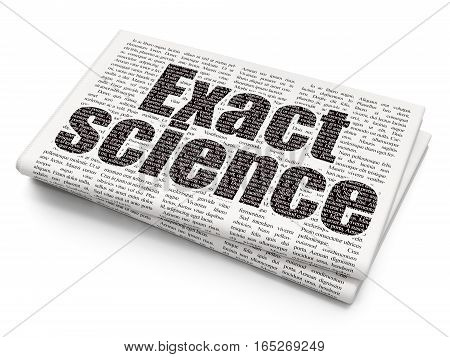 Science concept: Pixelated black text Exact Science on Newspaper background, 3D rendering