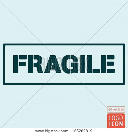 Fragile package handling label. Handle with care symbol. Vector illustration.