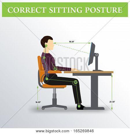 Office ergonomics. Correct sitting posture of a man near the computer