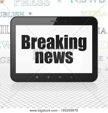 News concept: Tablet Computer with  black text Breaking News on display,  Tag Cloud background, 3D rendering