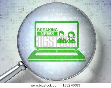News concept: magnifying optical glass with Breaking News On Laptop icon on digital background, 3D rendering