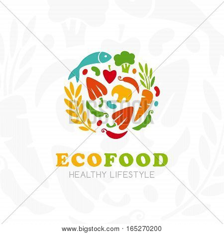 Healthy lifestyle logo. Round emblem of raw food. Vector icon template for vegan restaurant diet menu natural products fitness club family farm. Light background