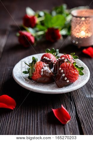 Chocolate Covered Strawberries With Sprinkles For Valentine's Day