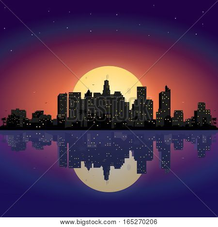 City at night with moon.Vector town in flat style design.Panorama of the big city at night with stars and moon