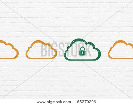 Cloud technology concept: row of Painted orange cloud icons around green cloud with padlock icon on White Brick wall background