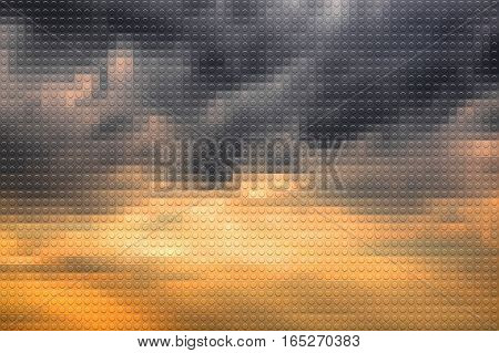 Stormy sky on sunset lookalike plastic bricks background