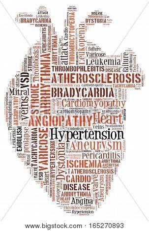 Heart disease. Cardiovascular disease. Heart of words. Arrythmia