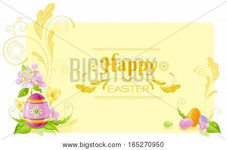 Happy Easter horizontal banner border. Spring border, cherry blossom, colored ornament egg, crocus flower, grass, swirl. Springtime nature. Text letter. Vector illustration background. Greeting card