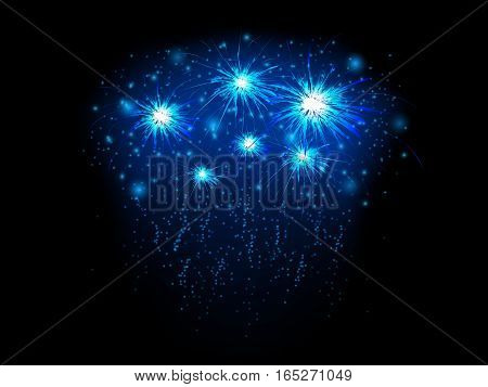 Abstract background with blue fireworks, vector illustration