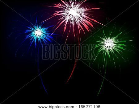 Abstract background with color fireworks, vector illustration