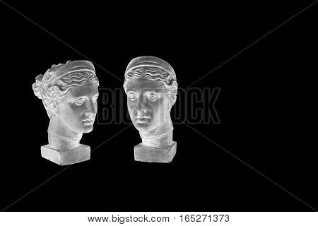 Set of marble head of young woman, ancient Greek goddess bust isolated on black background