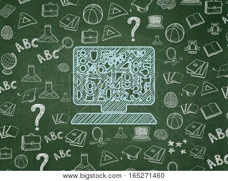 Education concept: Chalk Blue Computer Pc icon on School board background with  Hand Drawn Education Icons, School Board