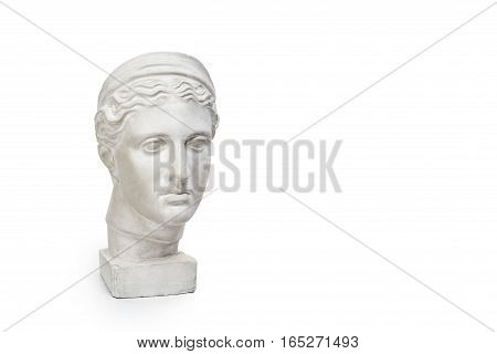 Marble head of young woman, ancient Greek goddess bust isolated on white background with copy space for text