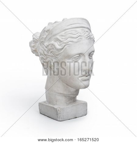 Marble head of young woman, ancient Greek goddess bust on white background.